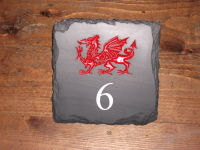Welsh Slate House Number Sign with Welsh Dragon