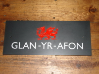 Welsh Slate House Name Sign with Welsh Dragon
