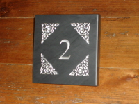 Welsh Slate House Number Sign with Celtic Pattern