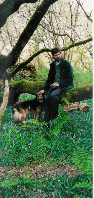 Martin Bailey and Tess, in the oak and hazel woodlands of Anglesey, looking for red squirrels