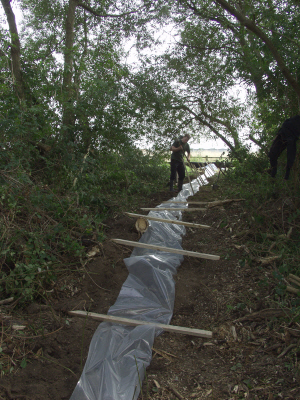 Newt/reptile fencing laid out prior to erection